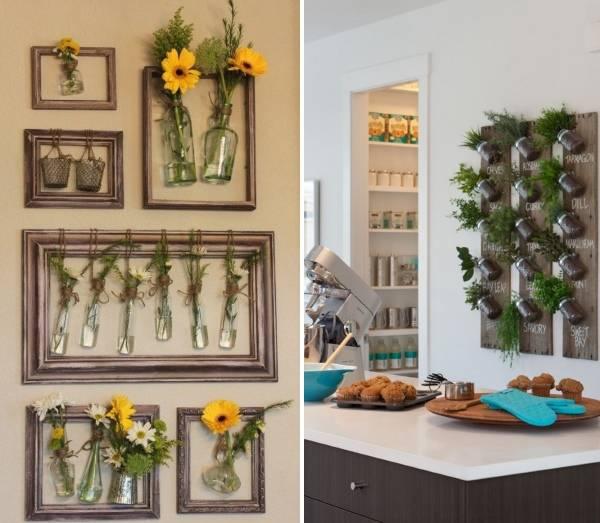 Декор стен кухни с растениями