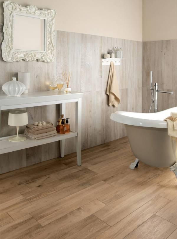 Теплый пол в ванной и плитка под дерево