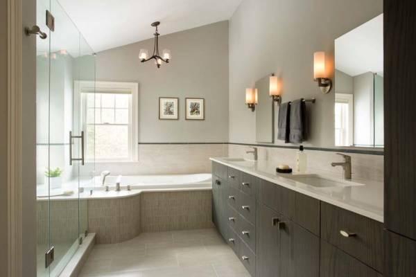 Дизайн ванной комнаты 2015: светильники и серый цвет