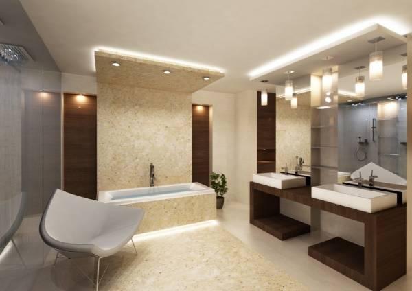Красивое освещение и подсветка в дизайне ванной