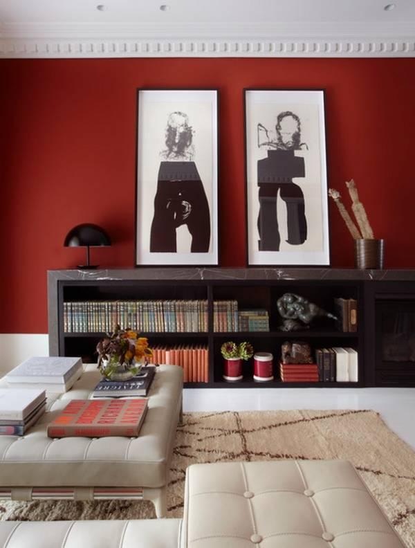 Стильный дизайн гостиной и настольная лампа гриб