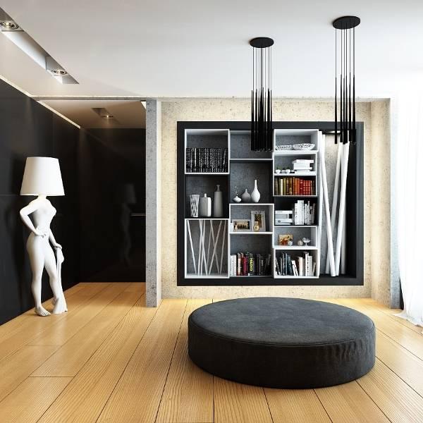 Стильные настенные полки в дизайне гостиной