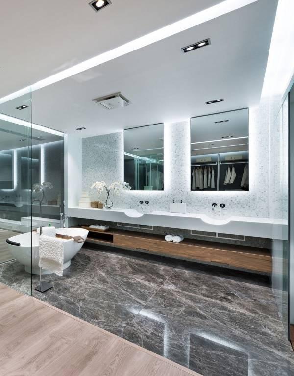 Большая ванная в стиле hi-tech