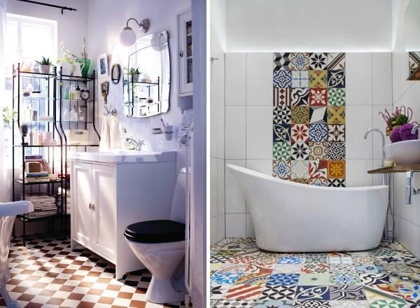Яркая плитка на полу в ванной
