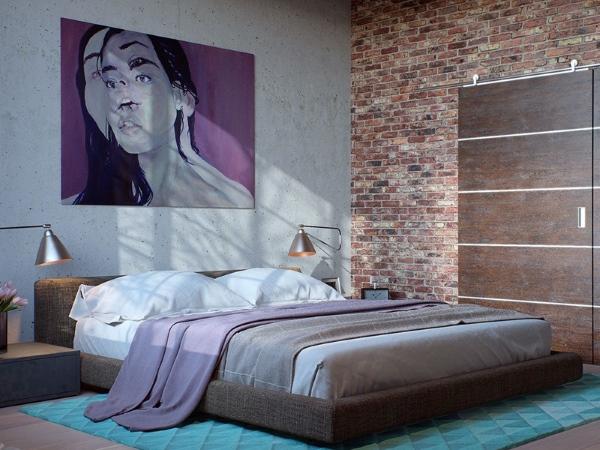 Бетонная и кирпичная стена в стиле лофт