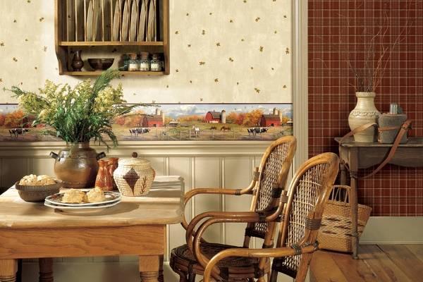 Обои с бордюрами в дизайне кухни