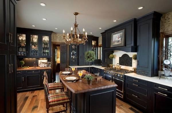 Дизайн кухни в черном цвете и темных тонах