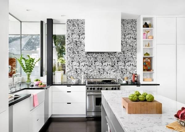 Современные обои в дизайне кухни