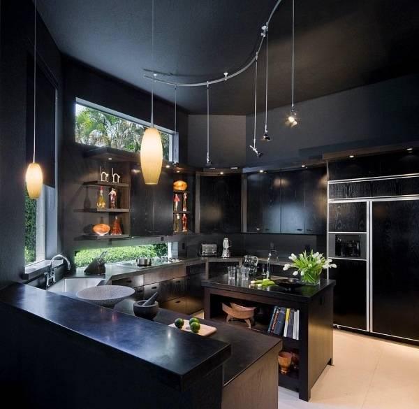 Черные стены и потолок на кухне