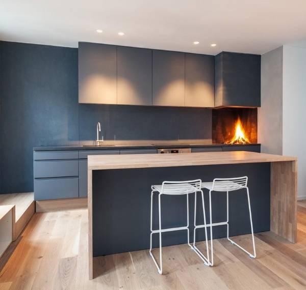 Дизайн кухни в лофте с черными обоями