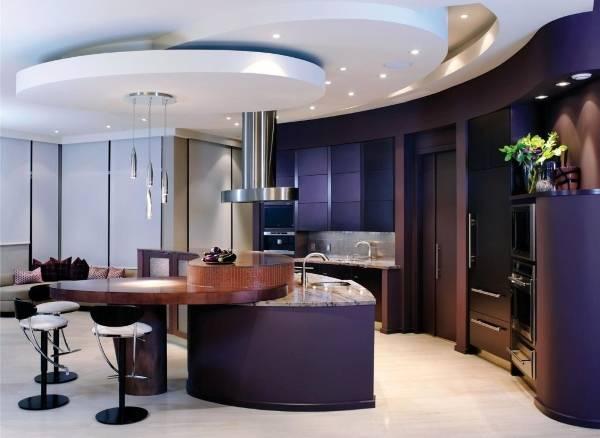 Ярусные потолки в дизайне кухни 2015