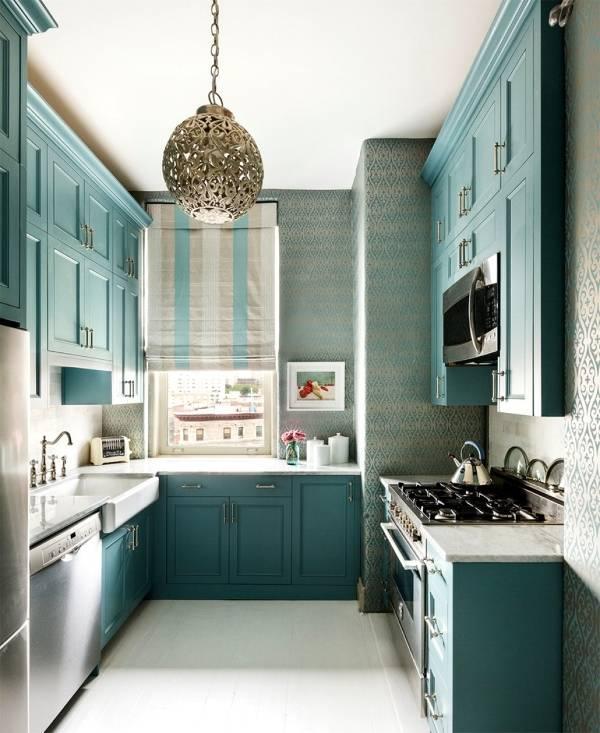 Дизайн кухни в голубом цвете