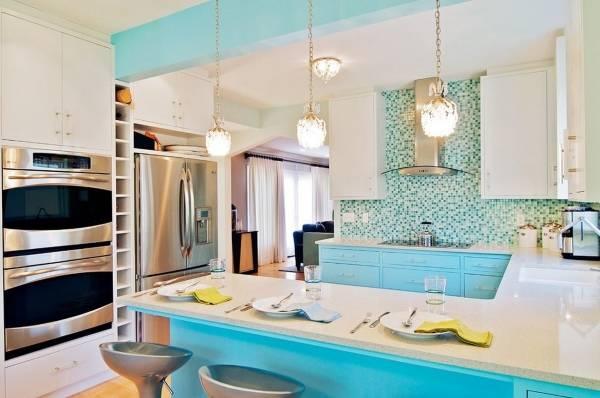 Дизайн кухни в голубом цвете 2015