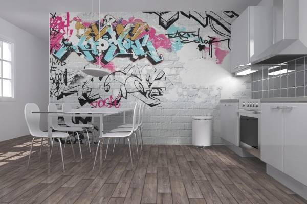 Обои в стиле индастриал с граффити