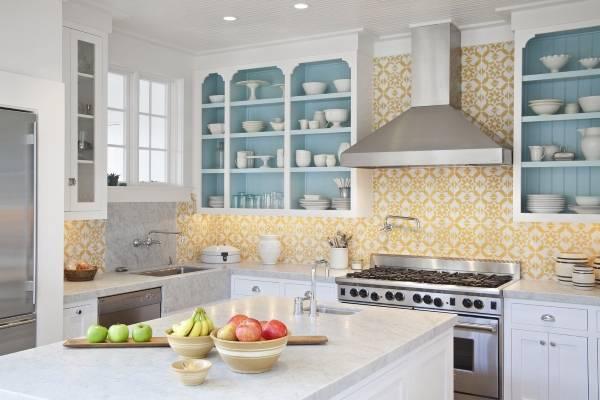 Идея для дизайна кухни с обоями