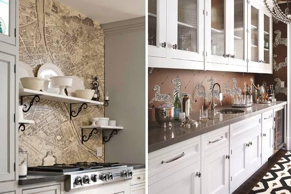 Примеры оформления кухонь обоями