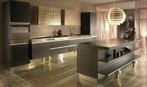 Шикарная мебель и светильники для кухни 2015