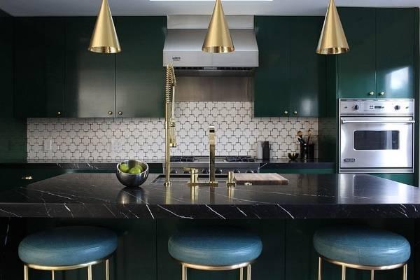 Оттенки золота в дизайне кухни 2015