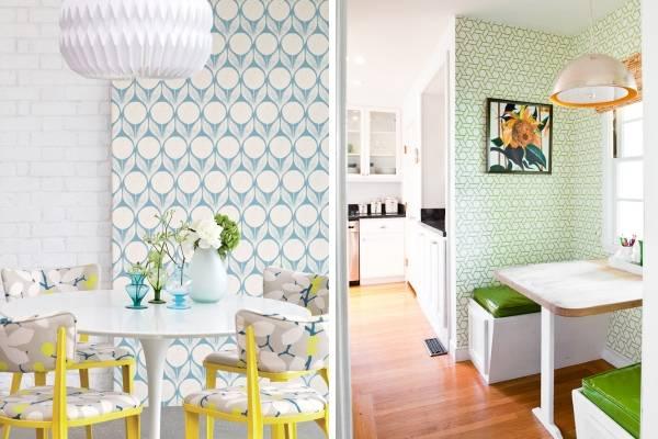 Кухонные обои с современным рисунком