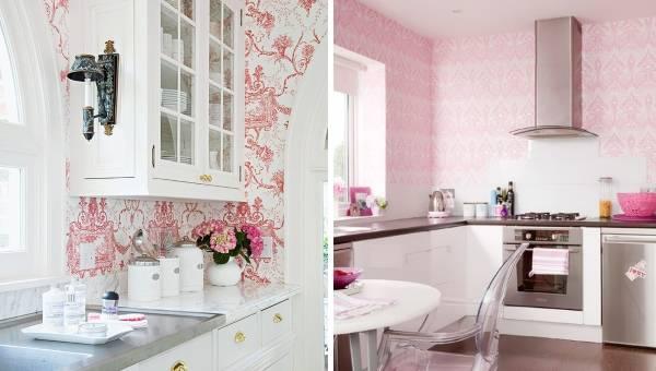 Розовые кухни с обоями на стенах