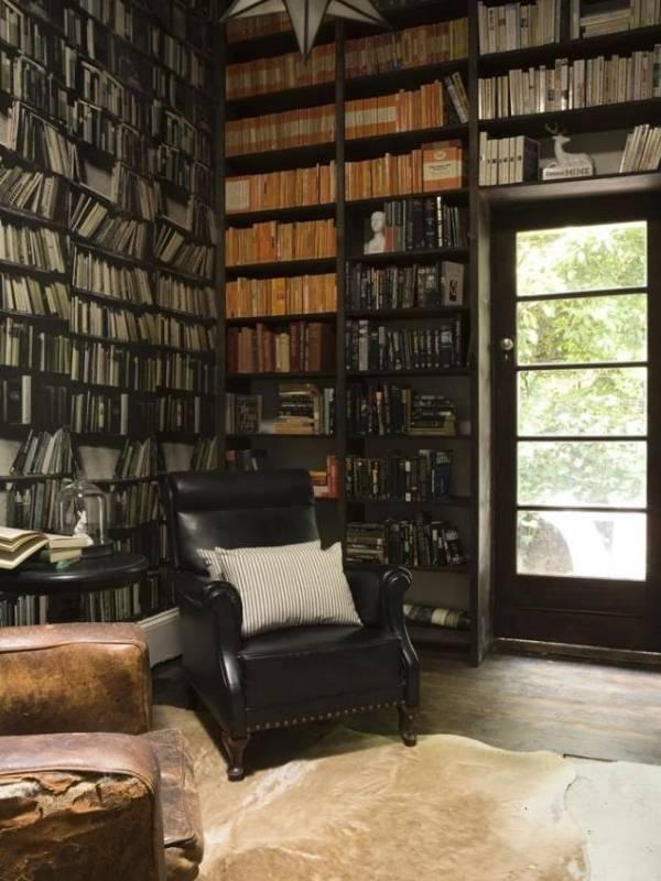 Модные обои Книжный шкаф в библиотеке