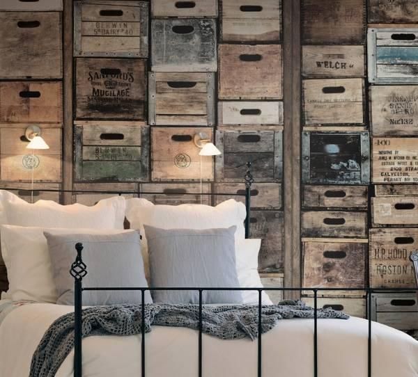 Обои в промышленном стиле в дизайне спальни