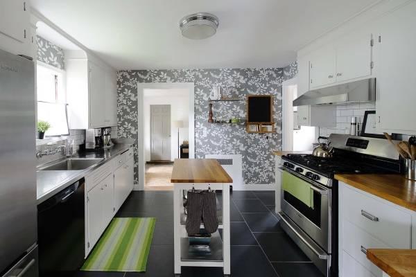 Серые обои на кухню 2015