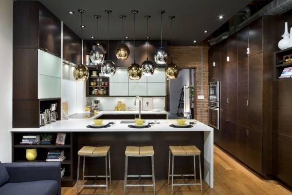 Шикарные светильники в дизайне кухни