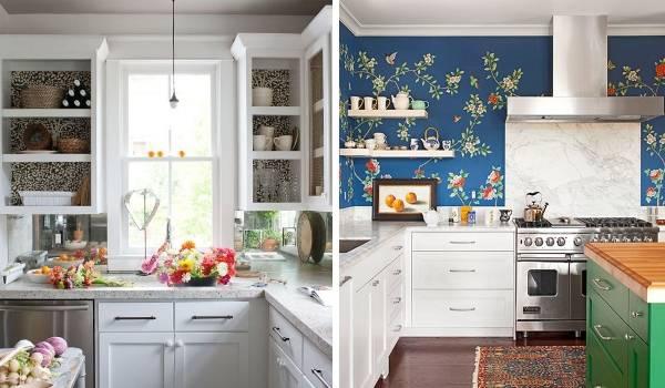 Применение темных обоев на кухне