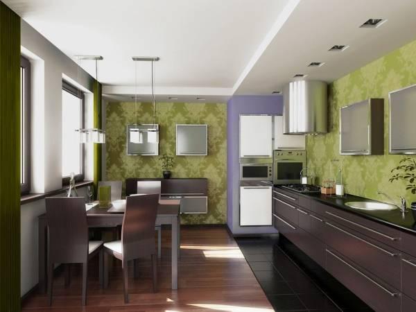 Зеленые обои для кухни 2015