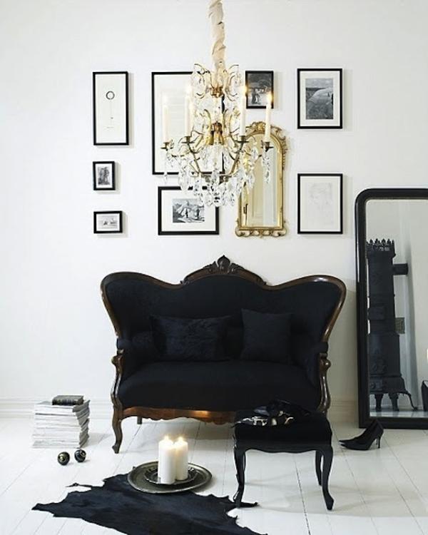 Роскошный черный и золотой декор в интерьере