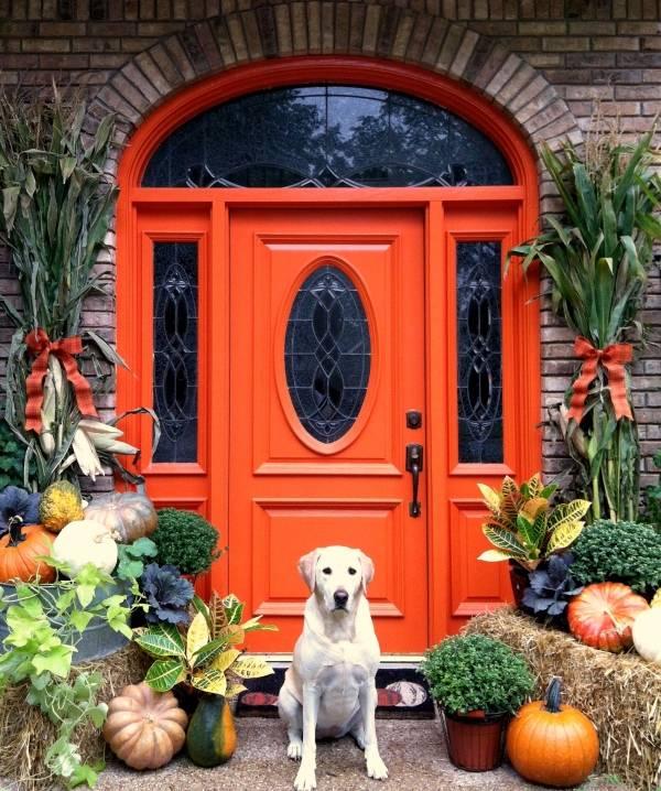 Красные входные двери в частный дом