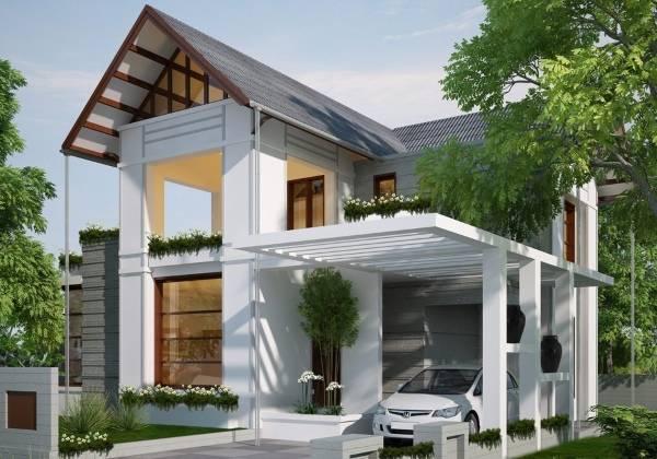 Проекты домов с навесом для машины