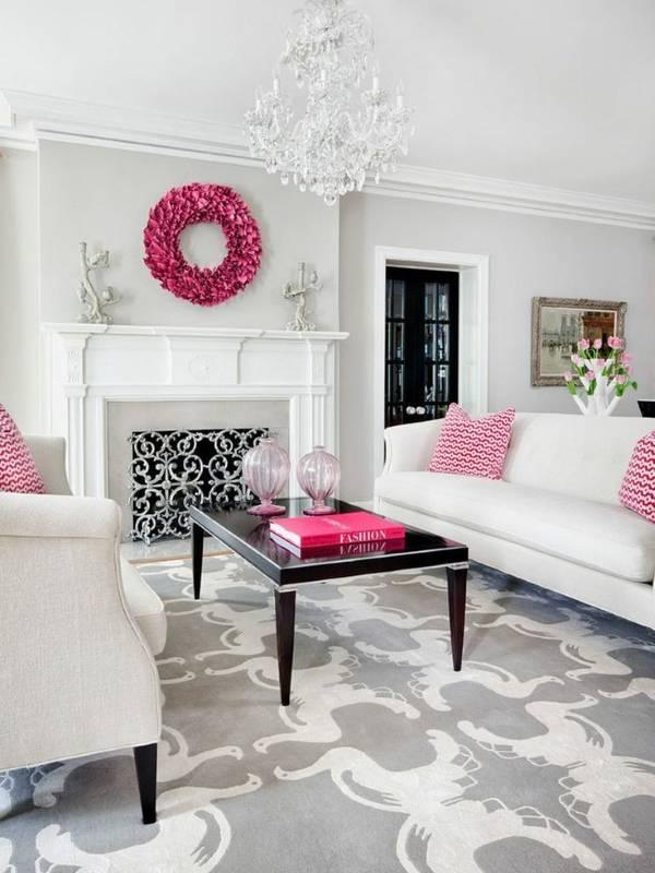 Декорирование интерьера с розовым цветом