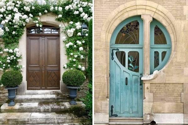 Необычные парадные двери из дерева под старину