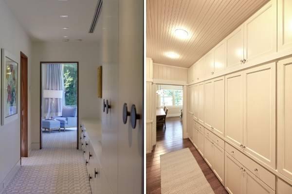 Белые встроенные шкафы в дизайне прихожих