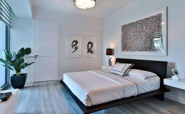 Скандинавский дизайн спальни с плавающей крвоатью