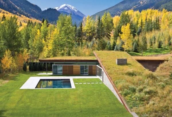 Частный дом с бассейном в лесу среди гор
