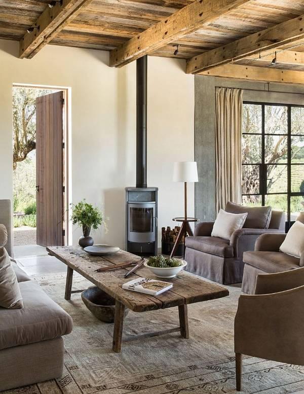 Дизайн гостиной частного дома в стиле эко