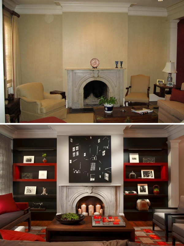 Дизайн гостиной с камином до и после
