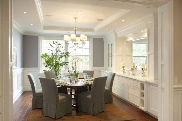 Дизайн столовой со встроенной мебелью