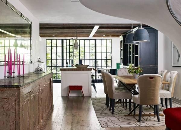 Дизайн кухни и столовой в соременном частном доме