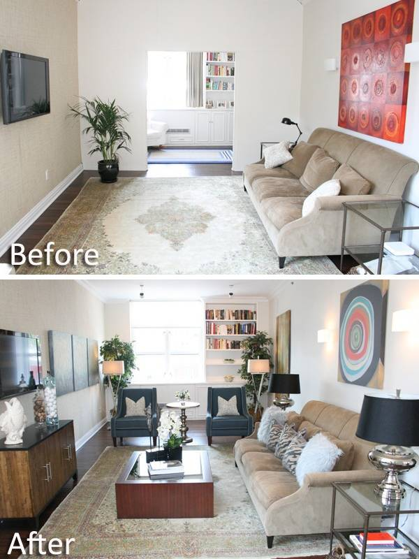 Фото гостиной в частном доме до и после