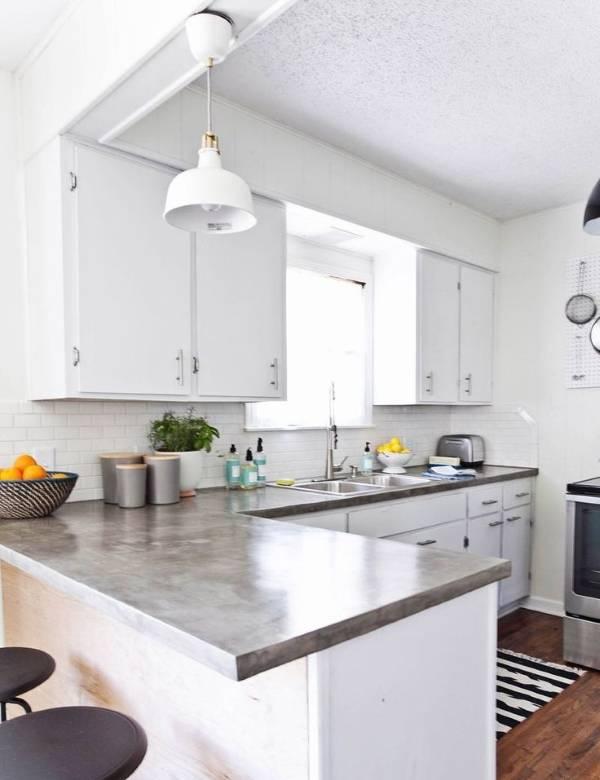 Самодельная кухонная столешница из цемента
