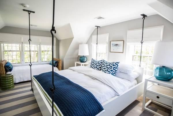 Идея для спальни: подвесная кровать