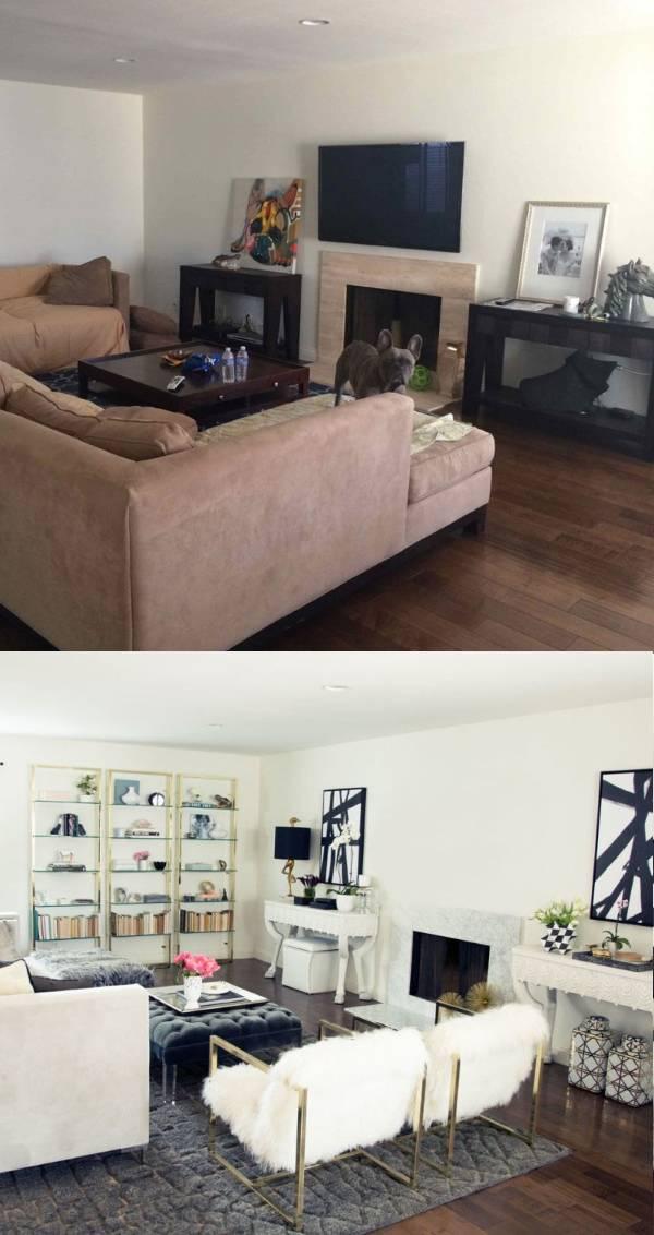 Интерьеры гостиной частного дома до и после