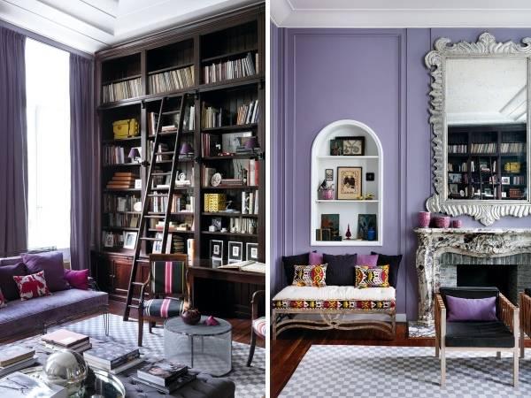 Дизайн гостиной и библиотеки внутри частного дома