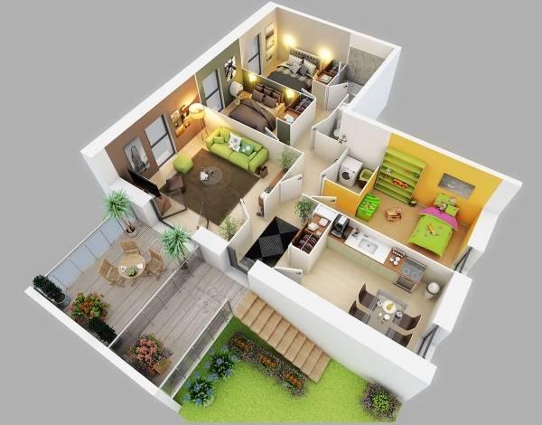 3D проект частного дома с детальным дизайном комнат