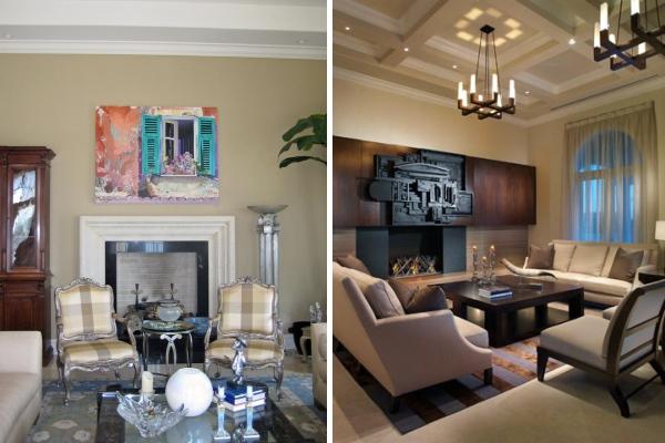 Красивый дизайн гостиной с камином