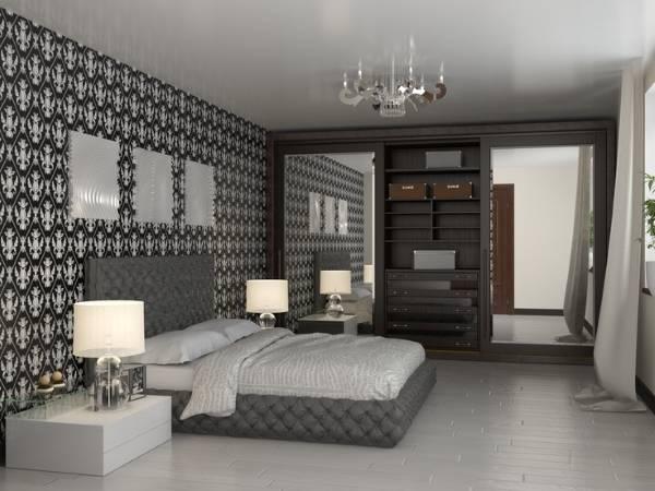 Красивый дизайн спальни и встроенный шкаф